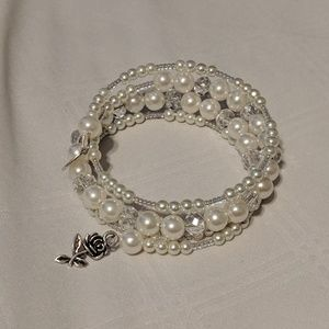 Jewelry - Handmade White Bridal Memory Wire Bracelet